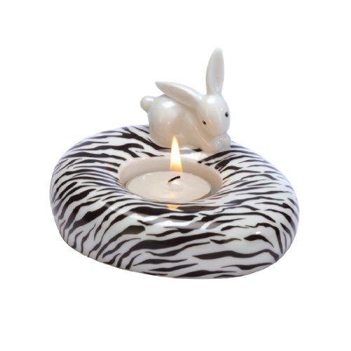 Goebel - 66874439: Bunny de luxe - Zebra Bunny - Teelichthalter
