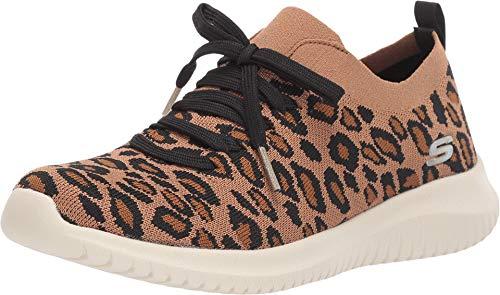 Skechers Women's Ultra Flex-Safari Tour Sneaker, Leopard, 6.5 M US