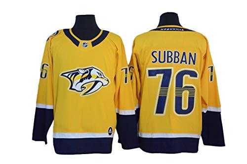 PK Subban # 76 Eishockey Nashville Predators Eishockey Gelb Genähte Buchstaben Zahlen NHL Eishockey Goalie Jersey,Yellow,XXXL