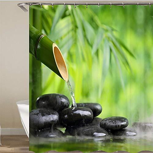 LTJY Bamboe douchegordijn, antibacterieel wasbaar, antischimmel, waterdicht, met 12 douchegordijnringen, polyester, geschikt voor de badkamer