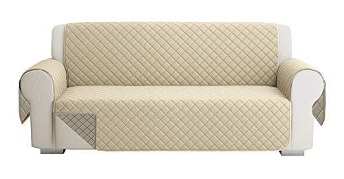 Fundas para Sofa Acolchado, Funda De Sofas 3 Plazas (170 CM), Cubre Sofa Reversible Bicolor, Taupe / Beige