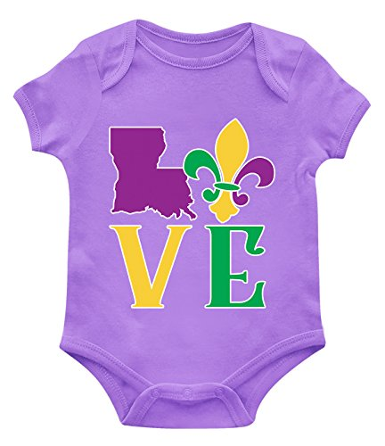 SpiritForged Apparel Love Louisiana Mardi Gras Infant Bodysuit, Light Purple 12 Months