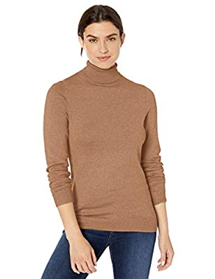 Amazon Essentials Women's Classic Fit Lightweight Long-Sleeve Turtleneck Sweater, Camel Heather, Large