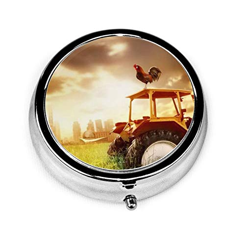 Travel Round Pill Box with Compact 3 Compartments- Portable Medicine Vitamin Holder Organizer Case for Pocket/Purse/Daily Needs- A Tractor On The Grass Field