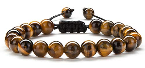 Hamoery Men Women 8mm Tiger Eye Stone Beads Bracelet Braided Rope Natural Stone Yoga Bracelet Bangle(Tiger Eye Stone)
