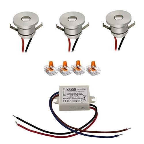 VBLED® LED Aluminium Mini Einbaustrahler deckenleuchte Spot IP44 wassergeschützt - 1W 350mA 80lm warmweiß (3000 K) (3er-Set)