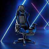 UNDRANDED Gaming Stuhl Racing Stuhl Bürostuhl mit Fußstütze und gepolsterter Armlehne Ergonomischer Computer Schreibtischstuhl mit Hohen Rücken Kopfstütze (Blau)