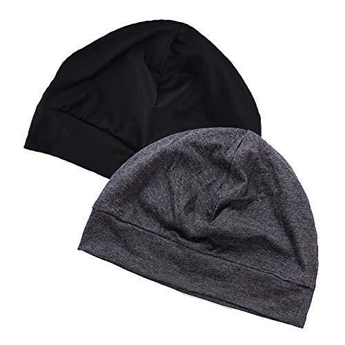 EINSKEY Mütze Herren Damen Baumwolle Skull Cap Dünne Winddicht Helm Unterziehmütze Kopfbedeckung für Fahrrad, Schlaf, Chemo (2-Pack)