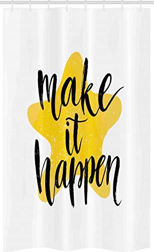 ABAKUHAUS Motivatie Douchegordijn, Zorg dat het lukt, voor Douchecabine Stoffen Badkamer Decoratie Set met Ophangringen, 120 x 180 cm, geel Zwart