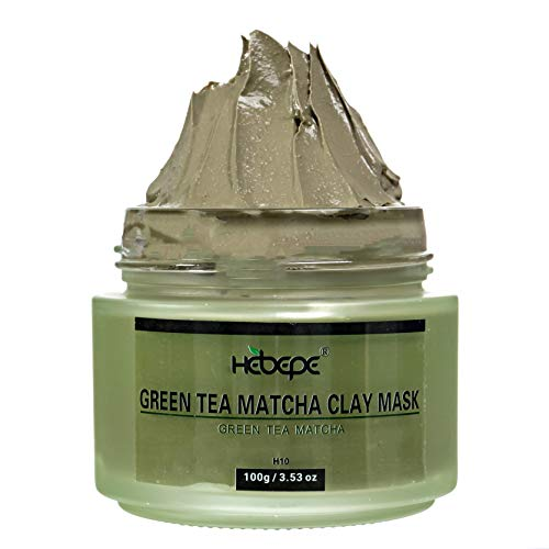 Hebepe Green Tea Matcha Dry Facial Detox Clay Mask with Mineral Oil, Deep Cleaning, Hydrating, Detoxing, Healing, and Relaxing Volcanic Clay Facial Mask