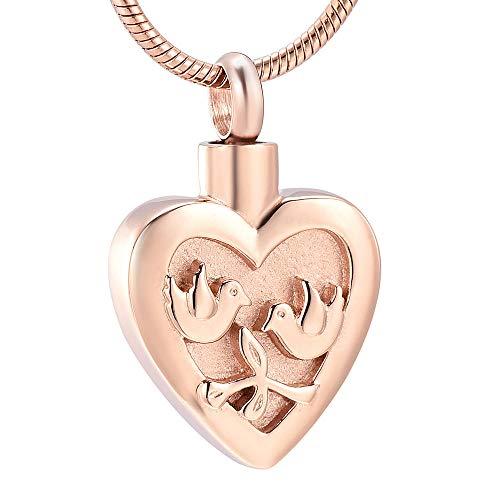 KXBY urnvormige urnhanger hart gegraveerd Double Bird vuurbestatung sieraden voor as hanger urnen Pet roestvrij staal unisex Memorial ketting @ Rose Gold