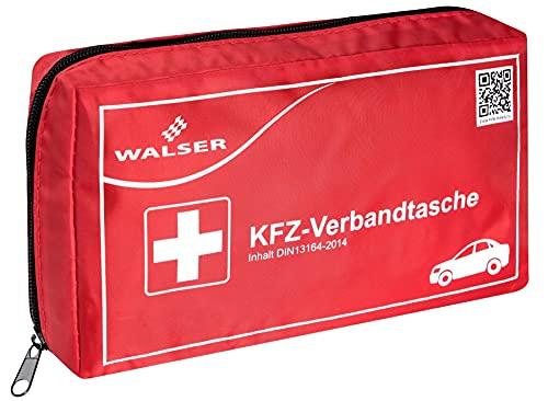 Botiquín de primeros auxilios WALSER 44264 KFZ rojo según DIN 13164, botiquín de primeros auxilios del coche, bolsa de primeros auxilios