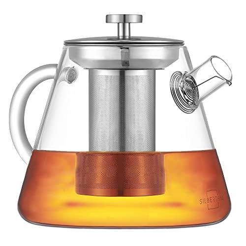 SILBERTHAL Teiera Vetro borosilicato 1,5 Litri | Teiera per Tisane | Infusiera Vetro con filtri | Teiera Vetro con infusore | Teapot per infusi
