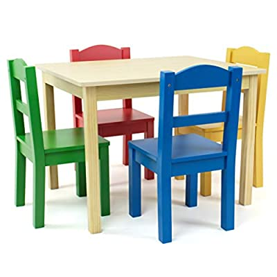 Tot Tutors Kids Wood Table and 4 Chairs Set