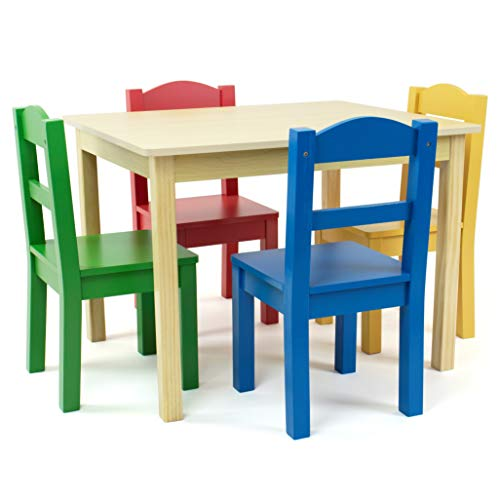 5pc Primary Collection Wood Table and Chairs Set Natural - Humble Crew