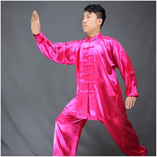 BAJIE Artes Marciales Tradicionales Kung Fu Tai Chi Wushu Classic Tangzhuang Camisa de Manga Larga Pantalones de Camisa de Entrenamiento Uniforme (Color : R, Size : Large)