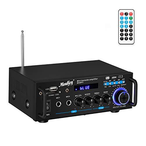 Amplificador Audio estéreo, Moukey Amplificador Audio Bluetooth, Alta...