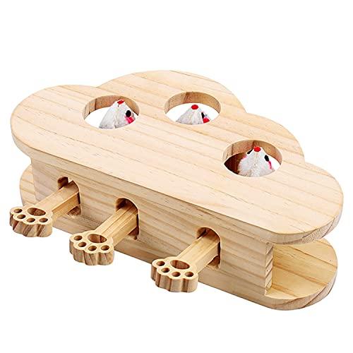 JR Knight 猫 おもちゃ 猫じゃらし 木製 ネズミ 知育玩具 穴の設計 ペットグッズ 自分で遊ぶ好奇心をくすぐる もぐらたたき 運動不足 ストレス解消
