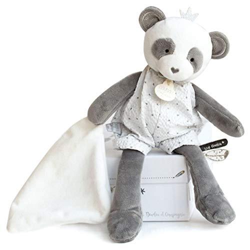 Doudou et Compagnie DC3544 - Marionetta Panda con coperta, colore: Grigio