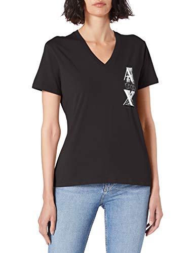 Armani Exchange T-Shirt Camiseta, Negro, XS para Mujer