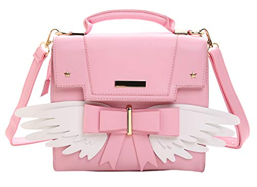 JHVYF Women's Cute Wings Bow Top Handle Cross Body Shoulder Bags Girls Handbag Pink