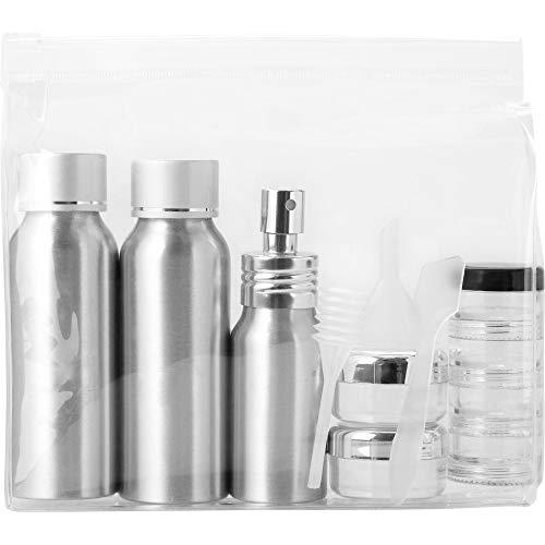 BULLET ensemble de bouteilles Alu voayage approuvé par Frankfurt Airline (16.5 x 4.1 x 15cm) (Transparent/Silver)