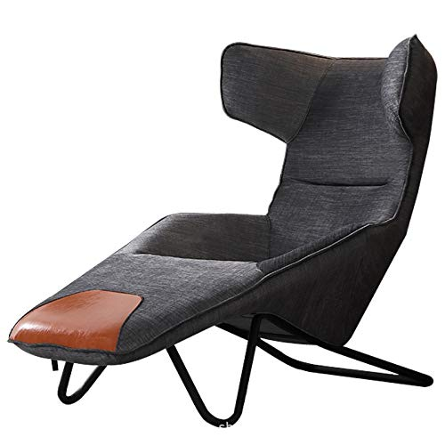 Recliner Armchair And Footstool Linen Fabric Reclining Armchair Backrest Recliner Chairs for Living Room Bedroom Office Lounge Chair (Dark Grey)