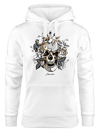 Neverless - Sudadera con capucha para mujer, diseño de calavera con rosas Calavera rosas blancas. XL