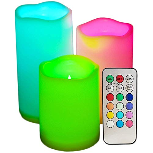 Set of 3 LED Flickering Flameless Candles with Remote Control, 3' 5' 6' Battery Operated Colored Candles with Timer for Birthday Party Christmas Home Decor(18-Key Remote Control)