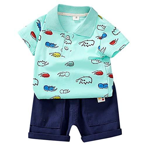 Baby Jungen Kleidung Set Polo Shirts Jeans Shorts Bekleidungsset Kleinkind Kinder Cartoon Print Gentleman Shirt Tops Jeansshorts Zweiteilig Outfits, Grün, 3-4 Jahre