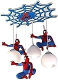 LED plafond lumière pépinière lampe pendentif enfants Spiderman lampe Cartoon lampe de plafond garçon chambre lampe suspendue à trois feux ombre lampe suspendue E27 lampe filles lustre bl.