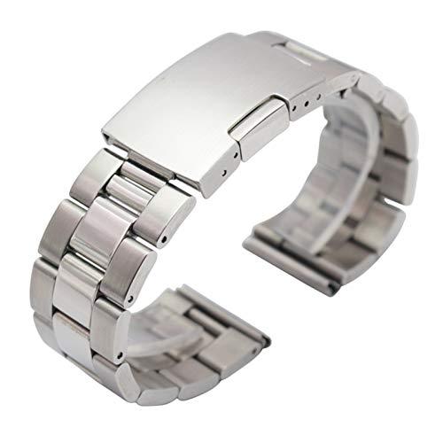 ZXF Correa Reloj, Pulsera de la Banda de Reloj de Metal Negro de Plata 18 mm 20 mm 22 mm 24 mm Strap de Hombres 316L Sólido Acero Inoxidable Reloj de Extremo Recto Pulsera