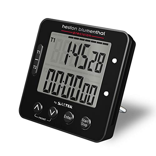 Heston Blumenthal elektronischer Timer, Küchenuhr, Vorwärtszählen und Countdown Funktion, Praktischer Stand, Hinweis zum Wenden, Animiertes Display