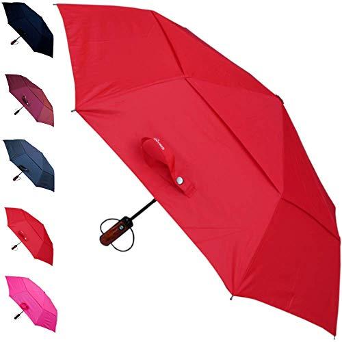 COLLAR AND CUFFS LONDON - Fuerte 80 km/h - A Prueba de Viento - Compacto - Estructura Reforzada con Fibra de Vidrio - Doble Toldo Ventilado - Apertura y Cierre Automático - Paraguas Plegable - Rojo