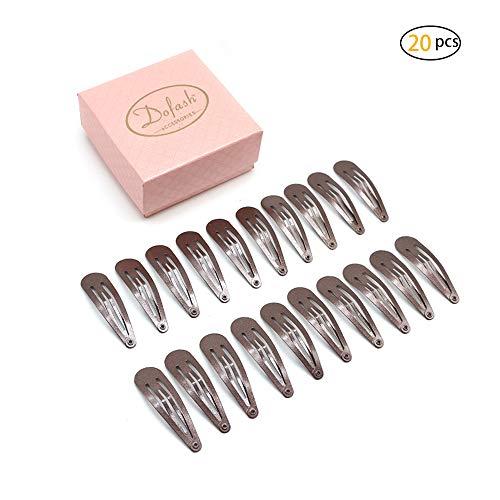 Dofash 20 Stücke Einfache Große Haar Snap Clips 2Inch/5cm Schnapp Haarspangen - Metall Haarspangen basic haarschmuck für Kinder Mädchen Damen mit Geschenkbox(Braun)