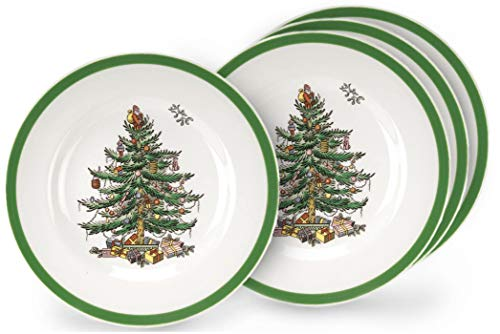 Spode Christmas Tree 10' Dinner Plate Set Of 4 - Holiday Design Dinnerware