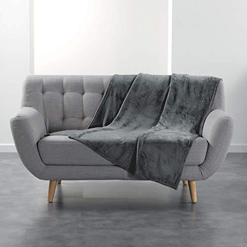 plaid 125x150 cm flanelle unie flanou gris