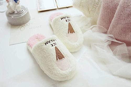 Pink Ice Cream Indoor Non-Slip Warm Slippers Ladies' Comfort Memory Foam Slippers@Pink_38-39