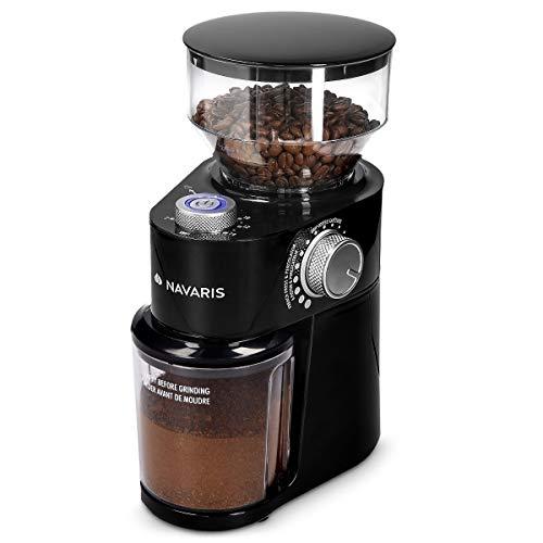 Navaris Elektrische Kaffeemühle mit Edelstahl Scheibenmahlwerk - 200W - für bis zu 14 Tassen Kaffee - 18 Mahlgrade - Kaffee Mühle Schwarz