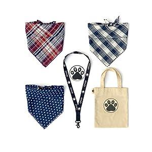KPAW Dog Bandana Set | 3 pcs Reversible Dog Bandana | cat & Dog Scarf for Small, Medium & Large Pets | Bandanas for Dogs & Cats | Cotton Tote Bag | Custom Lanyard | 3D Logo Decal