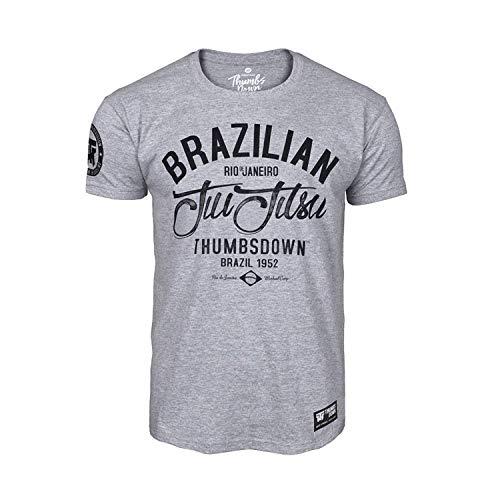 Thumbs Down JIU-Jitsu BRASILEÑO Camiseta Rio Des Janeiro. MMA. Gimnasio Entrenamiento. Marcial Artes Informal - Gris, Medium