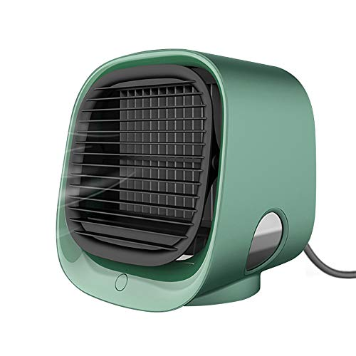 Portable Air Conditioner, Mini Personal Evaporative Air Cooler, Super Quiet Desk Small AC Unit with 7 Colors LED Light, USB 3 Speeds Fan for Office Room Bedroom (Portable Air Conditioner-Green)