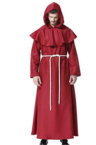 dream cosplay Priester Mittelalterlich Mönch Mit Kapuze Renaissance Robe Kostüm Cosplay , Rotwein, XL