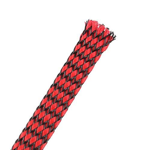 DealMux Funda Trenzada Extensible Pet de 3 pies - 3/8 Pulgadas - Funda de Cable Trenzado 2PCS - Rojo