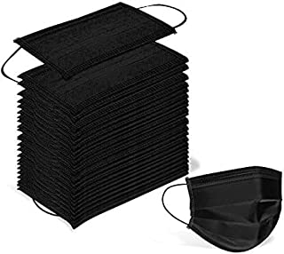 Disposable Black Color 4-Ply Safety Face Mask 50 pcs | 4 Layers| 100% NOT Made in China| 4 and 3-Ply by Agibaby/Bebenuvo (Adult Black 50 pcs)