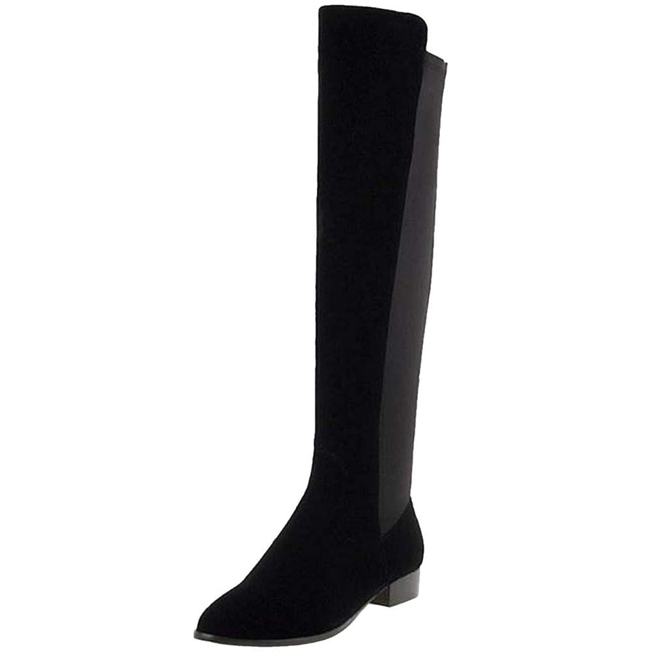 宣教師センチメートル許可する[RizaBina] レディース シンプル ロングブーツ サイドファスナー ローヒール ブーツ 乗馬靴