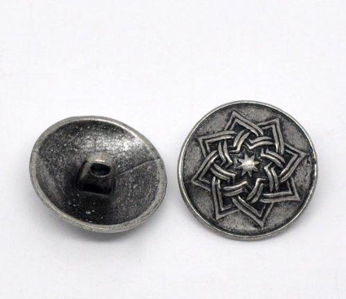 SiAura Material 10 Stück Metallknöpfe, antiksilber, Keltic -Muster, Ø ca. 20mm, Lochgröße 2,2mm