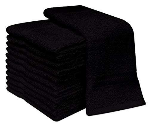 6 Toallas de Mano para Lavabo de algodón 100%, 50x100 cm, Blancas y Negras (Precio PROMOCION) (Negro)