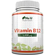 Vitamin B12 1000μg - High Strength B12 Methylcobalamin - 180 Vegan Tablets (6 Month Supply) - Made in The UK by Nu U Nutrition