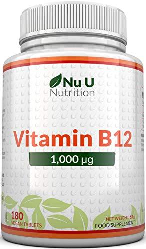 Vitamina B12 1000 μg - B12 Metilcobalamina ad Alto Dosaggio - 180 Compresse Vegetariane e Vegane (Fornitura per 6 Mesi) - Prodotto in UK da Nu U Nutrition
